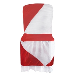 Chandni Cloth Chair Cover - Without Handle - For VIP Chair - Armless - Red + White - Square back