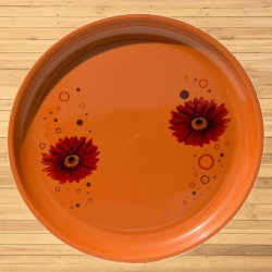 11 Inch Second Quality Dinner Plates - Made Of Food-Grade Regular Plastic Material - Leher Round Shape - Printed Plate