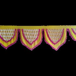 24 FT - Designer Zalar - Zalar - Kantha - Jhalar - Made Of Lycra - Lemon & White & Maharani Pink Color With Embroidery