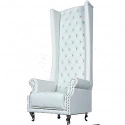 White Color - VIP Sofa Chair - Rexine Sofa - Maharaja Sofa Chair - Superior Quality Made of Wooden.