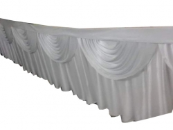 20 FT X 30 Inch - Table Cover Frill - Made Of Premium Lycra Quality - White Color