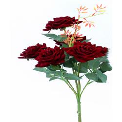 Height 18 Inch - Rose Bunch X 6 - AF - 155 -Artificial Bunch - Leaf Flower - Dark Brown Color