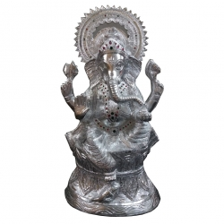36 Inch - Ganeshji Murthi - Idol - Made Of White Metal - Silver Color.