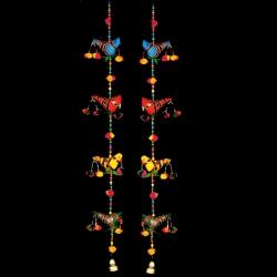 1.5 FT - Jhumar - Parrot Hanging Ladi - Door Hanging Jhumar - Multi Color