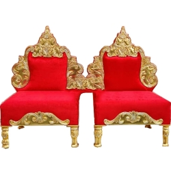 Red Color - Heavy Premium Metal Jaipur Chair - Wedding Chair - Varmala Chair - Made Of High Quality Metal & Wooden - Single