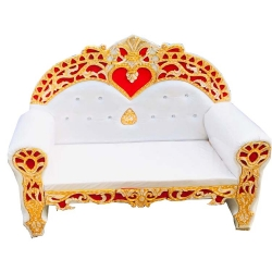 Wedding Reception Sofa - Wooden Sofa - Made Of Wood & Metal - White Color.