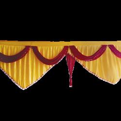 15 FT - Designer Zalar - Scallop Zalar - Kantha - Jhalar - Made of Lycra with Tipki - Sona Gold & Maroon Colour