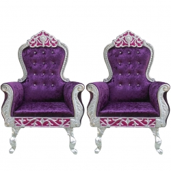 Purple Color - Heavy Metal Premium Jaipuri Chair - Wedding Chair - Chair Set - Made Of Metal & Wooden - 1 Pair ( 2 Chair )