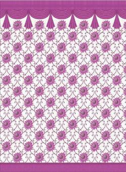 Printed Taiwan - 6 FT (Approx) Panna - Breadth - Maharani Floral Print - Deewal - Side Wall