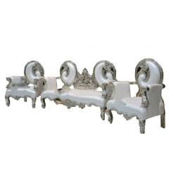 White Color - Heavy - Udaipur - Sofa Set - Wedding Sofa Set - Couches - Made Of Wooden & Brass Metal. - 1 Sofa & 1 Pair Of Chair ( 2 Chair )