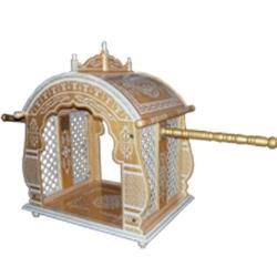 Sankheda Bridal Doli - Palki God - Made Of Wood - Golden & White Color
