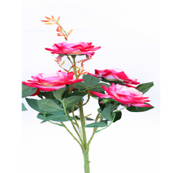 Height 18 Inch - Rose Bunch X 6 - AF - 155 -Artificial Bunch - Leaf Flower - Pink-White Color