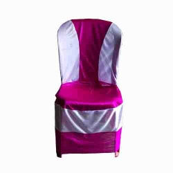 Chair Cover Without Handle For Plastic Chair - White & Pink  Color