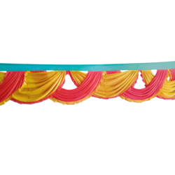 15 FT - Designer Zalar - Scallop Zalar - Chain Scallop Zalar - Kantha - Jhalar - Made of Lycra - Gajar Red & Sona Gold Colour with Sea Green Patta