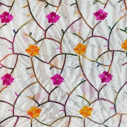 26 Gauge - Designer Bright Lycra - Embroidery Work - 52 Inch Panna - Threadwork & Sequence Work - Pink & Orange Flower