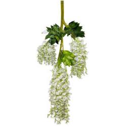 Height - 42 Inch - Hydrengea Wisteriya - Latkan - Flower Decoration - Artificial Latkan - Plastic Latkan - AF - 228 - White Color - 1 Packet ( 12 Pieces )