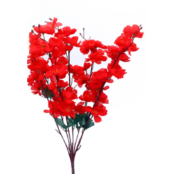 Height 21 Inch - Blossom Bunch X 7 Stick - AF - 359 - Leaf Bunch - Red Color