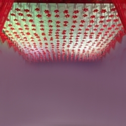 10 FT X 10 FT - Ribbon Ceiling - Fur Ceiling - Fancy Ceiling- Satin Fabric Ribbon With Flower - 10 KG Taiwan Cloth - Red & Peach Color
