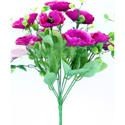 Height 14 Inch - Anemone Bunch X 9 - AF- 268 - Leaf Bunch - Purple Color