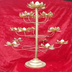 24 Inch - Lotus Tree - Candle Holder - Table Top Candle Stand - Candelabra - Candlestick - Golden