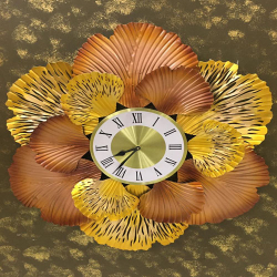 28 Inch - Gingo Leaf Clock - Watch Wall Decoration - Wall Hanging - Made Of Metal