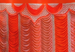 10 ft x 15 ft - Designer Curtain - Parda - Stage Parda - Wedding Curtain - Mandap Parda - Background Curtain - Side Curtain - Made of Bright Lycra - Multi Color - Peach + Catonic Orange - Festoon