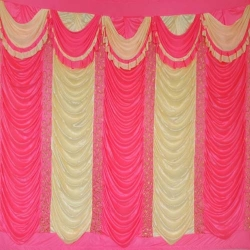 10 FT x 15 FT - Mandap Stage Parda - 26 Gauge Brite Lycra - Heavy Embroidery - Wall Parda For Wedding Function - Orange & Piech Colour