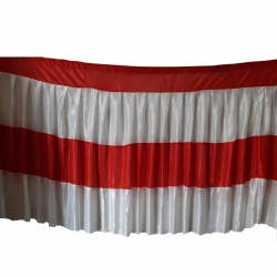 Table Cover Frill - Made of Brite Lycra - 24 Gauge - Red & White Color (Size Available 15 FT X 20 FT X 30 FT )