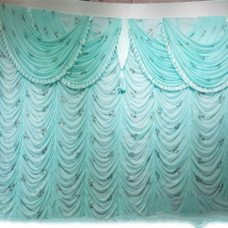 10 FT X 20 FT - Designer Curtain - Parda - Stage Parda - Wedding Curtain - Mandap Parda - Back Ground Curtain - Side Curtain - Made Of 24 Gauge Brite Lycra - Light Sky Color