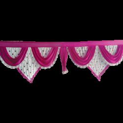 15 FT - Designer Zalar - Scallop Zalar - Kantha - Jhalar - Made of Lycra - Maharani Pink & White Colour with Embroidery