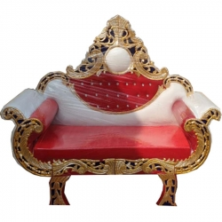 White & Brown Color - Regular - Couches - Sofa - Wedding Sofa - Maharaja Sofa - Wedding Couches - Made Of Wooden & Metal