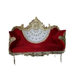 White & Red Color - Regular - Couches - Sofa - Wedding Sofa - Maharaja Sofa - Wedding Couches - Made Of Wooden & Metal.