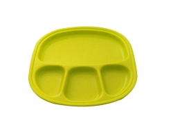 12 Inch - Divided-Dinner Plate With 4 Compartments Made Of Food-Grade Virgin Plastic (Microwave-Safe) Green Color