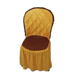 Brite Lycra Chair Cover - Cover Without Handle - For Plastic Chair - Yellow & Maroon Color .