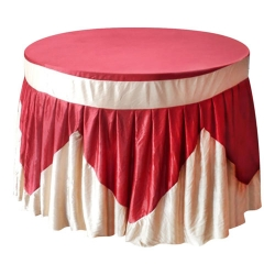 4 FT x 4 FT - Round Table Cover - Made of Premium Quality Lycra Cloth - Dark Red & Chandan Color