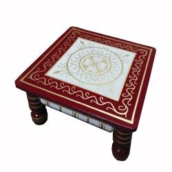 16 Inch X 16 Inch  - Sankheda Wooden Chowki - Decorative Wooden Showpiece - White & Red Color.
