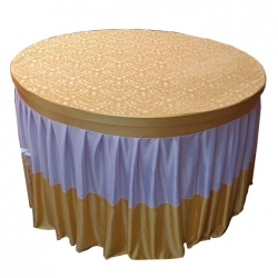 4 FT X 4 FT - Round Table Cover - Made of Premium Quality Brite Lycra - Top Velvet Fabric Cloth - Yellow & White Color