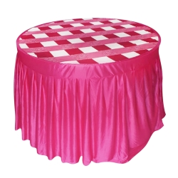 4 ft x 4 ft - Round Table Cover - Made of Premium Quality Lycra Cloth - Maharani Pink Lycra + Taiwan Top