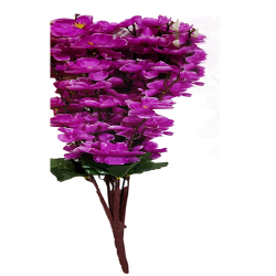 Height  24 Inch - Blossom Bunch X 9 Stick - AF- 503 - Leaf Bunch - Purple Color