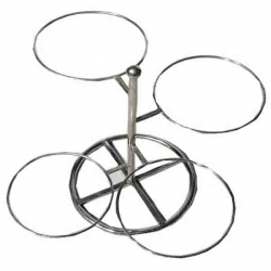 16 Inch - Salad Stand - 4 Tier Ring Shaped Racks - Made of Stainless Steel.