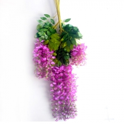 2 FT - Plastic Artificial Flower - Latkan - Flower Decoration - (1 Packet - 12 Piece Leaf ) - Pink Color