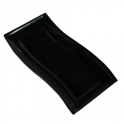 6 Inch X 10 Inch - Square Platter - Snack Tray - Dessert Plate - Made of Food Grade Acrylic - Black Color