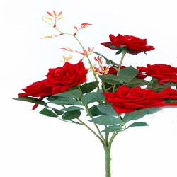 Height 18 Inch - Rose Bunch X 6 - AF - 155 -Artificial Bunch - Leaf Flower - Dark Red Color
