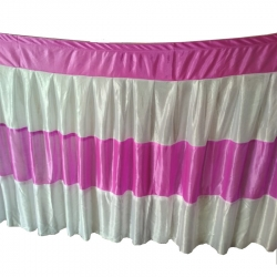 Table Cover Frill - Made of Brite Lycra - 24 Gauge - Dark Pink & White Color (Size Available 15 FT X 20 FT X 30 FT )