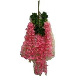 3.5 FT - Plastic Artificial Flower - Latkan - Flower Decoration - Light Pink Color - (1 Packet - 12 Piece Leaf )