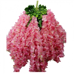 2 FT - Plastic Artificial Flower - Latkan - Flower Decoration - Pink Yarrow Color(1 Packet - 12 Piece Leaf )
