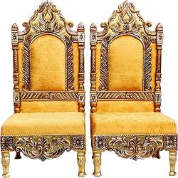 Yellow Color - Heavy Metal Premium Jaipuri Chair - Wedding Chair - Chair Set - Made Of Metal & Wooden - 1 Pair ( 2 Chair )