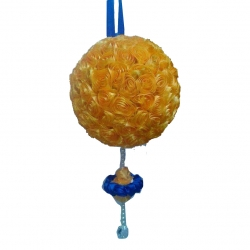 12 Inch  Hanging Decoration Flower Ball - Fancy Ball - Yellow Color