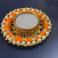 3 Inch Round Ring Flower Diya - Golden Color