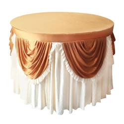 4 Ft x 4 Ft - Round Table Cover - Made of Premium Quality Lycra Cloth - Scallop Border - Rust Brown & Light Chandan Colour